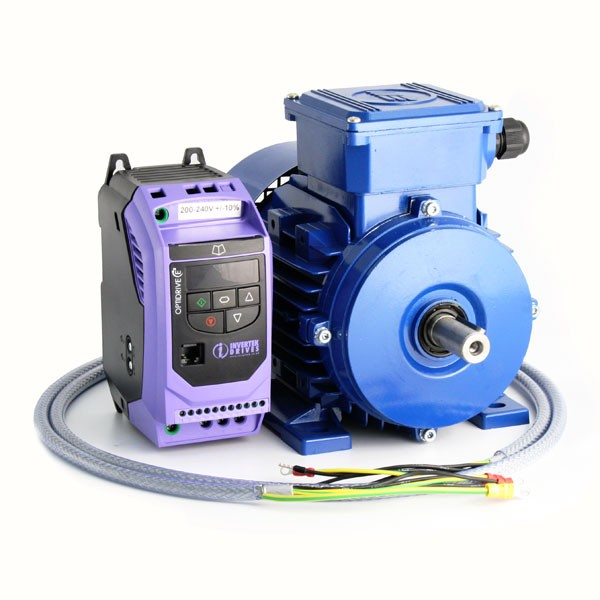 Ac Variable Speed Drive And Ie2 Motor Kit 1 0hp 230v Single Phase Invertek To Marelli