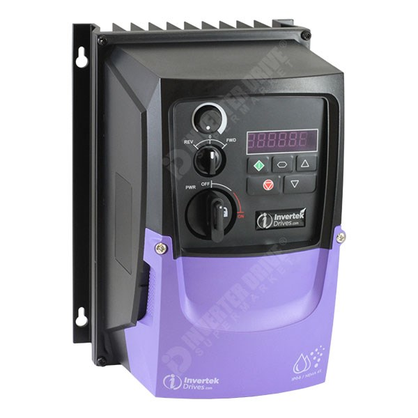 Photo of Invertek Optidrive E3 IP66 0.37kW 230V 1ph to 3ph AC Inverter Drive, SW, C1 EMC