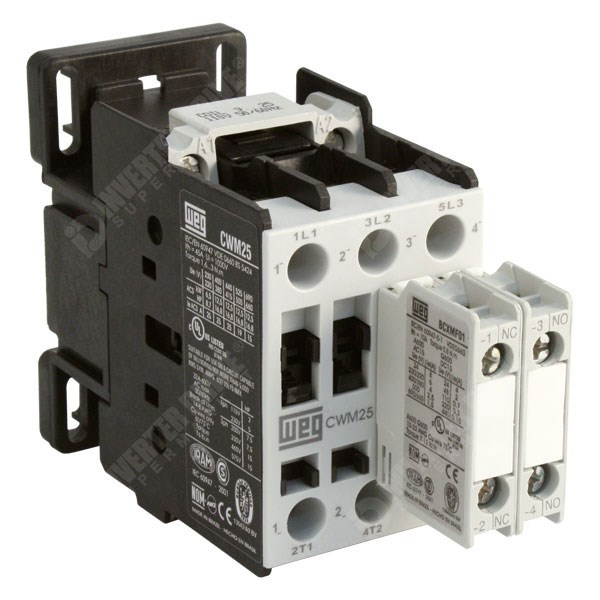 WEG CWM25 – 25A/45A 11kW/18 5kW 3 Pole Contactor, 1NO+1NC Aux, 110V AC Coil