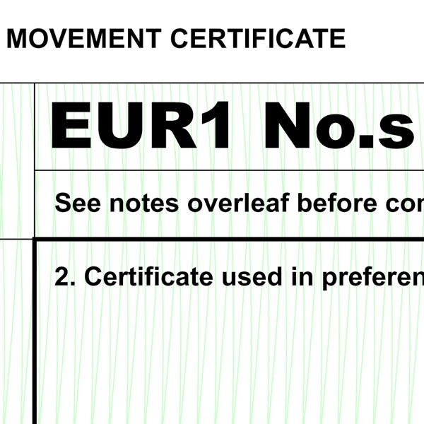 EUR1 Movement Certificate for EU Preferential Trade Exports ...